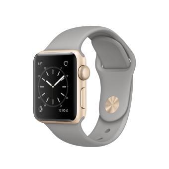 Apple Watch Series 1 38 mm Boîtier en Aluminium Or avec Bracelet Sport Gris Ciment
