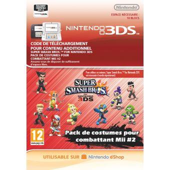 Code de téléchargement Super Smash Bros. Pack de costumes pour combattant Mii #2 Nintendo 3DS