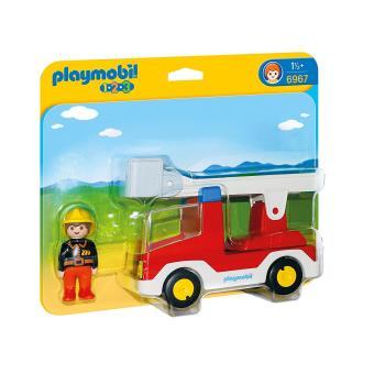 Playmobil 1.2.3 6967 Camion de pompier avec échelle pivotante