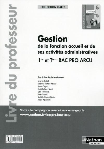 Gestion de la fonction accueil et de ses activités admin 1re et Term Bac pro arcu (Galée) Professeur
