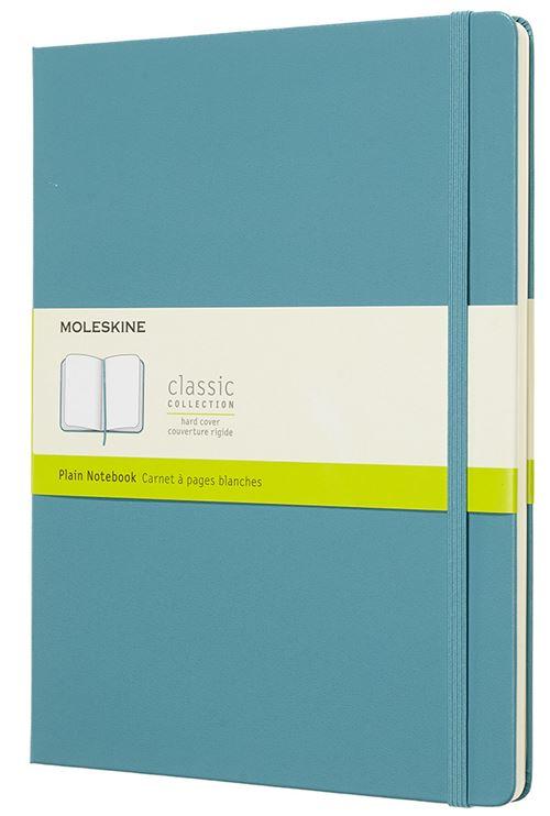 Carnet à pages blanches Moleskine Très grand format rigide Bleu lagon