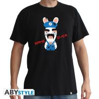 T-Shirt Lapins Crétins Game Over Homme Taille XS Noir