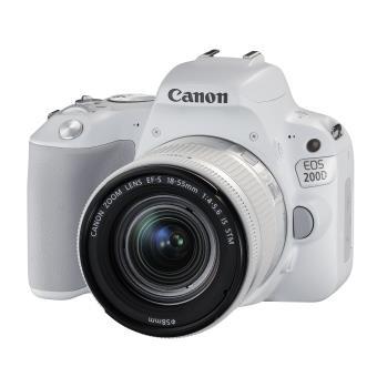 Reflex Canon EOS 200D Blanc + Objectif EF-S 18-55 mm f/4.5-5.6 IS STM