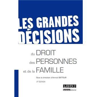 Les grandes décisions du droit des personnes et de la famille