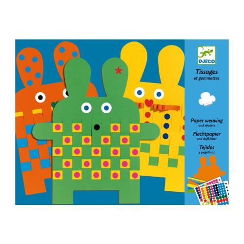 Djeco - Tissage et stickers - 6 lapins a tisser