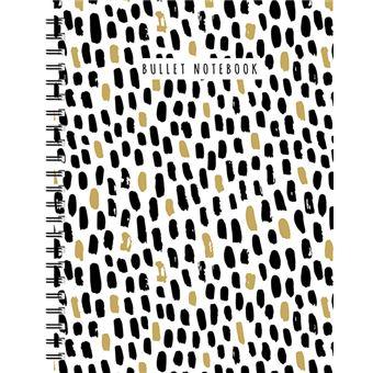 Zwart-wit-goud spiraalboek groot (bullet) / Grand carnet à spirale noir-blanc-or