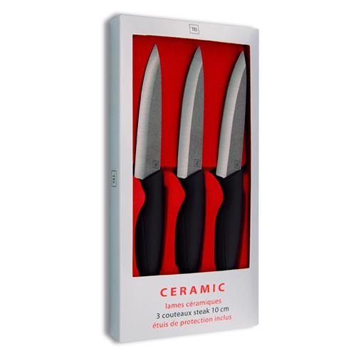 Coffret 3 Couteaux Steak Céramique Tarrerias Bonjean Lame Noire 10 cm