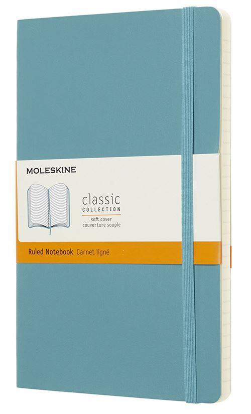 Carnet ligné Moleskine Grand format souple Bleu lagon