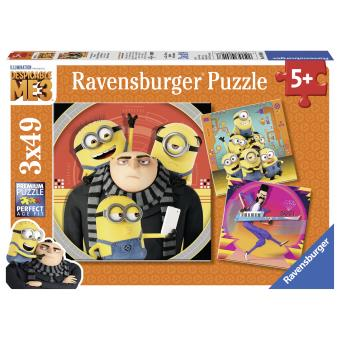 3 puzzles 49 pièces Moi, moche et méchant 3 Le chaos des Minions Ravensburger