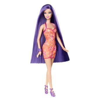 Poup e barbie cheveux longs mattel mauve poup e achat - Barbie chevaux ...