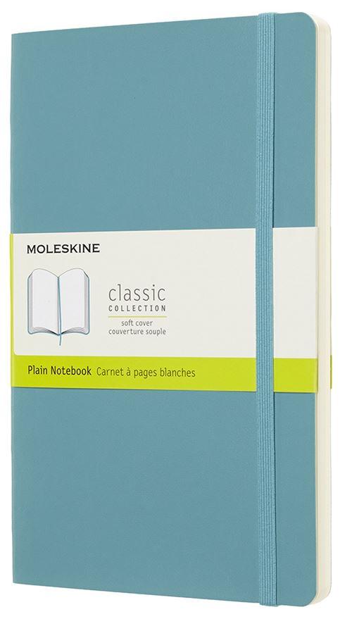 Carnet à pages blanches Moleskine Grand format souple Bleu lagon