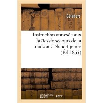 Instruction annexée aux boîtes de secours de la maison Gélabert jeune