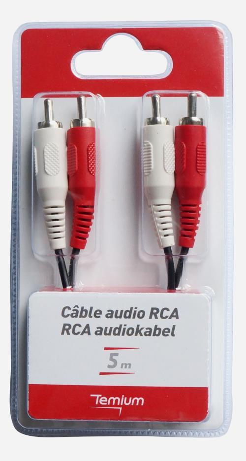 Câble audio Temium 2 RCA vers 2 RCA 5 m