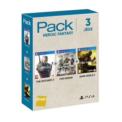 Pack Fnac 3 jeux Heroic Fantasy 2018 PS4 The Witcher 3 + For Honor + Dark Souls 3