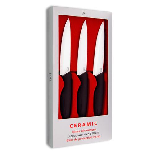 Coffret 3 Couteaux Steak Céramique Tarrerias Bonjean Lame Blanche 10 cm