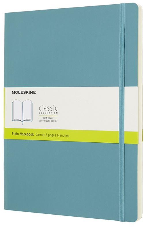 Carnet à pages blanches Moleskine Très grand format souple Bleu lagon