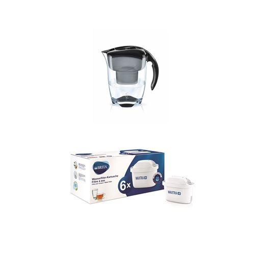 Carafe filtrante Brita Elemaris XL 3,5L Noir avec un cartouche inclus+ Pack de 6 Cartouche filtre à eau Brita Maxtra+