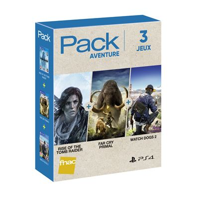 Pack Fnac 3 jeux Aventure 2018 PS4 Rise of the Tomb Raider + Far Cry Primal + Watch Dogs 2