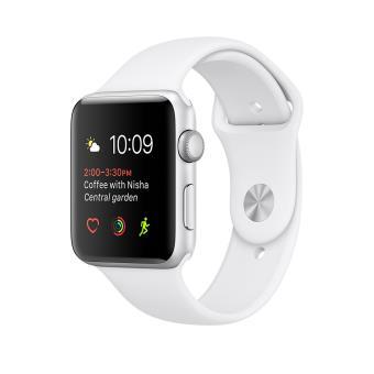Apple Watch Series 1 42 mm Boîtier en Aluminium Gris avec Bracelet Sport Blanc