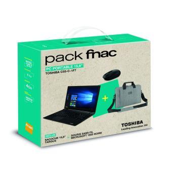 "Pack Fnac PC Portable Toshiba Satellite C55-C-1F7 15.6"" Noir + Sac + Souris"