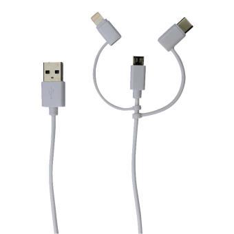 Câble Sinox Sync/Charge 3-en-1 Blanc 1 m
