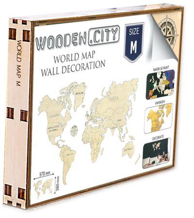 Monde carte en bois