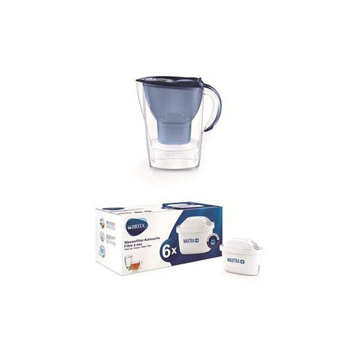 Carafe filtrante Brita Marella 2,4L Bleu+ Pack de 6 Cartouche filtre à eau Brita Maxtra+