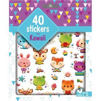 40 stickers Kawai - pochette d'autocollants plastifiés