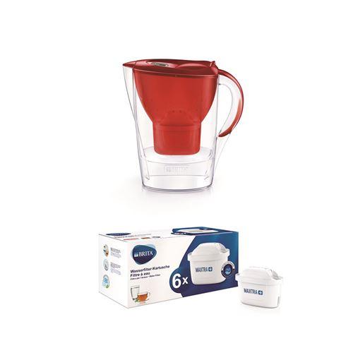 Carafe filtrante Brita Marella 2,4L Rouge + Pack de 6 cartouches filtre à eau Brita