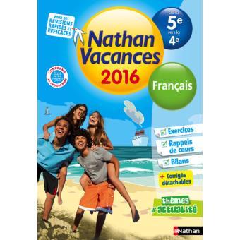 Cahier De Vacances 2016 College Monomatiere Francais 5e 4e