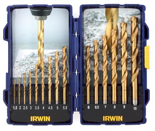 Set de 15 forets métaux Irwin HSS TITANIUM 1,5 à 10mm