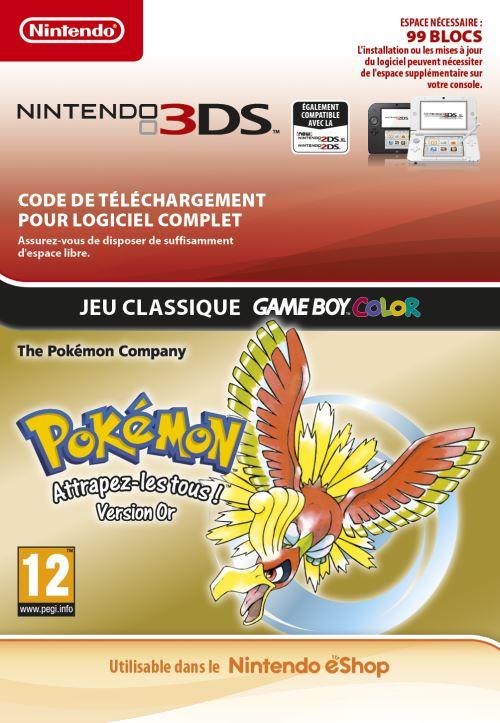 Code de téléchargement Pokémon Attrapez-les tous ! Version Or Nintendo 3DS