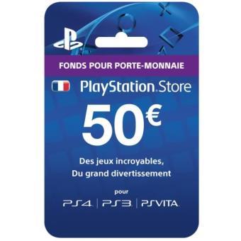 carte pr pay e playstation network 50 euros sony accessoire console de jeux la fnac. Black Bedroom Furniture Sets. Home Design Ideas