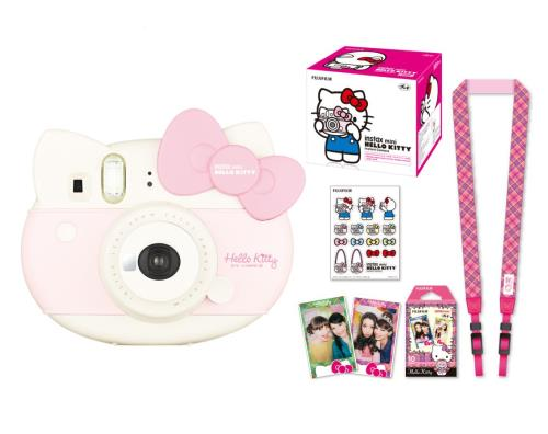 Contient : 1 Instax Mini Hello Kitty + 1 pack de films Instax Mini Hello Kitty + 1 Planche de stickers + 1 Dragonne