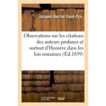 Observations sur les citations des auteurs profanes et surto