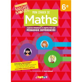 Mon cahier de maths 6e -  cahier