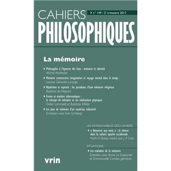 Cahiers philosophiques,149:la memoire