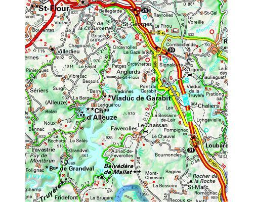 carte du cantal détaillée Cantal, Lozère Échelle 1/150 000   broché   Collectif Michelin