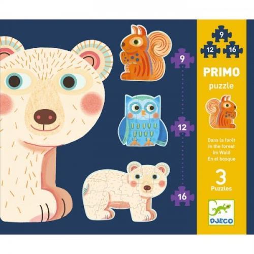 3 puzzles Primo dans la forêt Djeco