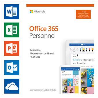 Microsoft Office 365 Personnel FR 12 + 3 mois gratuits (1 utilisateur)
