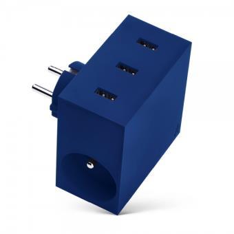 Multiprise Usbepower Hide 3 ports USB 4.4 A + 2 prises Bleu