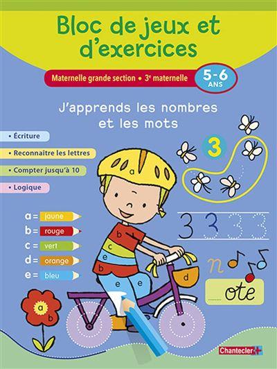 Bloc de jeux et d'exercices-j'apprends les nombres/mots (5-6
