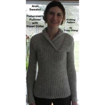 1bae58c6e275a Aran Vests and SweatersAran Sweater Fisherman s Pullover with Shawl Collar  Knitting Pattern