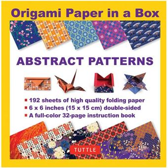 Origami paper in a box abstract patterns