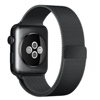 taille 40 ebdde e772b Bracelet Milanais noir sidéral pour Apple Watch 42 mm