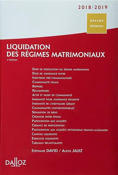 Liquidation des régimes matrimoniaux 2018-2019