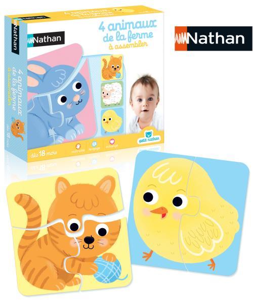 Jeu découverte 4 animaux de la ferme à assembler Nathan