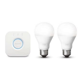 kit de d marrage 2 ampoules philips hue white e27 9 5 w pont de connexion hue bridge lampe. Black Bedroom Furniture Sets. Home Design Ideas