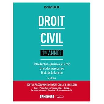 Droit Civil 1re Annee Introduction Generale Au Droit Droit Des Personnes Droit De La Famille Broche Romain Boffa Achat Livre Fnac