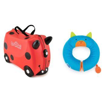 oreiller coccinelle Valise Trunki Ladybug Coccinelle Rouge 18 L 4 roues + Oreiller de  oreiller coccinelle